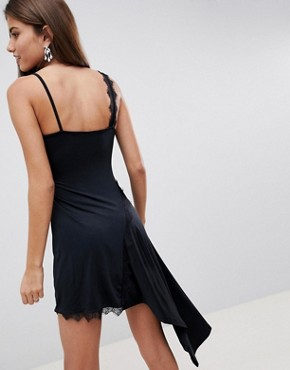 photo Lace Insert Slinky Slip Dress by ASOS DESIGN, color Black - Image 2