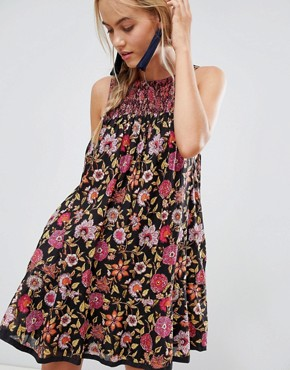 photo Oh Baby Floral Print Dress by Free People, color Black - Image 1