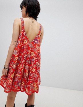 photo Oh Baby Floral Print Dress by Free People, color Red - Image 2