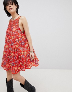photo Oh Baby Floral Print Dress by Free People, color Red - Image 1