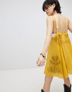 photo Tulum Cutwork Slip Dress by Free People, color Yellow - Image 2