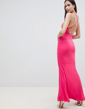 photo Cami Wrap Front Pleated Fishtail Maxi Dress by ASOS DESIGN, color Pink - Image 2