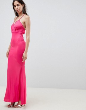 photo Cami Wrap Front Pleated Fishtail Maxi Dress by ASOS DESIGN, color Pink - Image 1