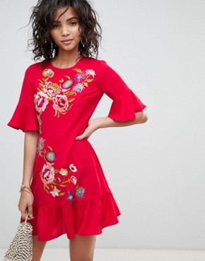 photo Embroidered Mini Skater Dress by ASOS DESIGN, color Red - Image 1