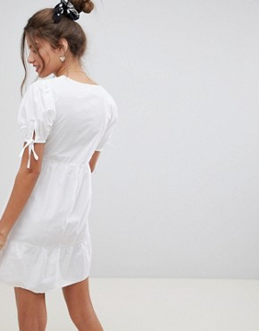 photo Tiered Cotton Smock Mini Dress by ASOS DESIGN, color White - Image 2