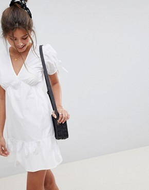 photo Tiered Cotton Smock Mini Dress by ASOS DESIGN, color White - Image 1