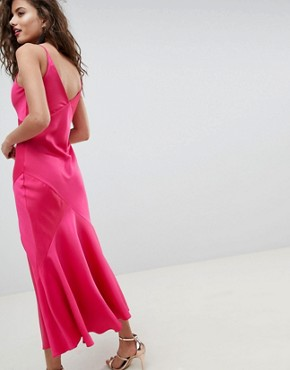 photo Bias Cut Maxi Slip Dress by ASOS DESIGN, color Hot Pink - Image 2