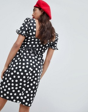 photo Dress with Frill Detail in Polka Dot by Lost Ink, color Black Spot - Image 2