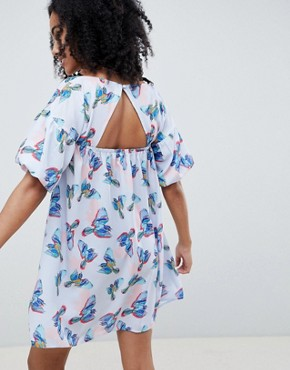 photo Mini Smock Dress with Tie Front in Bird Print by Lost Ink, color Blue Multi - Image 2