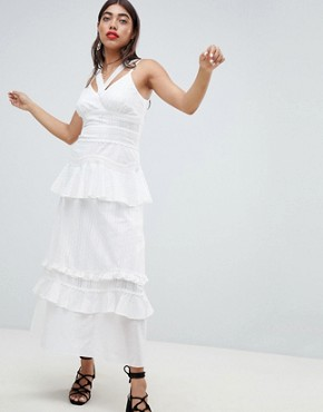 photo Cami Maxi Dress with Ruffle Layers in Crochet Mix Fabric by Lost Ink, color White - Image 1