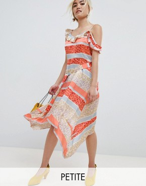 photo Midi Dress with Tie Waist in Tropical Mix and Match Print by Lost Ink Petite, color Orange Multi - Image 1