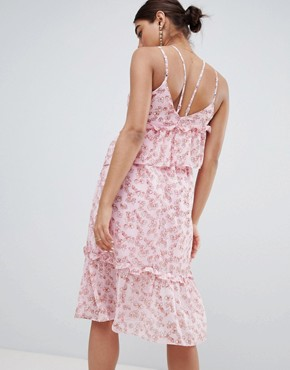 photo Asymmetric Midi Dress with Ruffle Layer in Ditsy Floral Print by Lost Ink, color Pink Multi - Image 2