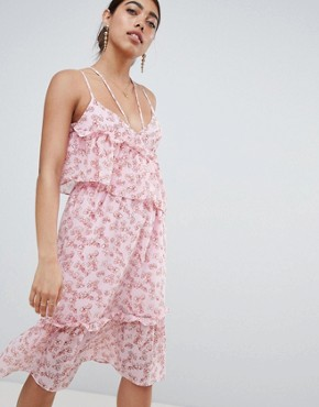 photo Asymmetric Midi Dress with Ruffle Layer in Ditsy Floral Print by Lost Ink, color Pink Multi - Image 1