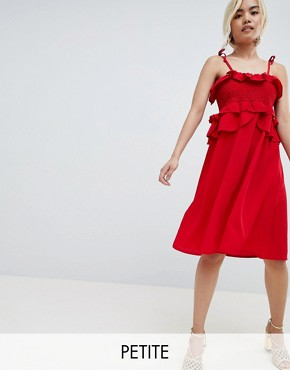 photo Cami Dress with Smocking and Frill Detail by Lost Ink Petite, color Red - Image 1
