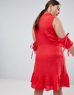 photo Fit and Flare Shirt Dress with Cold Shoulder and Frill Hem by Lost Ink Plus, color Red - Image 2
