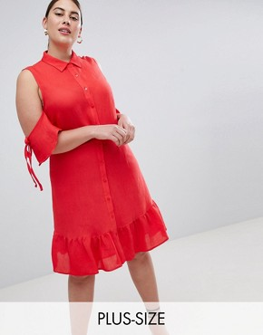 photo Fit and Flare Shirt Dress with Cold Shoulder and Frill Hem by Lost Ink Plus, color Red - Image 1