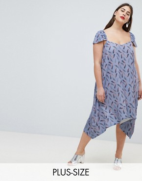 photo Flutter Sleeve Swing Dress in All Over Feather Print by Lost Ink Plus, color Multi - Image 1
