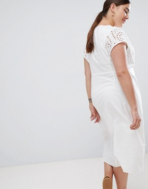 photo Button Front Midi Dress with Broderie Details by Lost Ink Plus, color White - Image 2