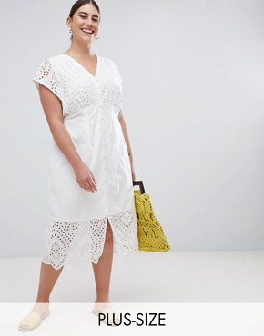 photo Button Front Midi Dress with Broderie Details by Lost Ink Plus, color White - Image 1