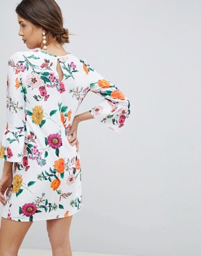 photo Maternity Botanical Shift Dress with Fluted Sleeves by ASOS DESIGN, color Multi - Image 2