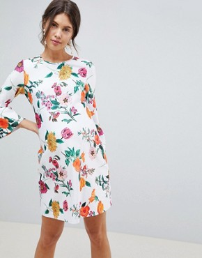 photo Maternity Botanical Shift Dress with Fluted Sleeves by ASOS DESIGN, color Multi - Image 1