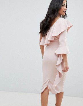 photo Maternity One Shoulder Ruffle Midi Dress with Extreme Sleeve by ASOS DESIGN, color Mink - Image 2