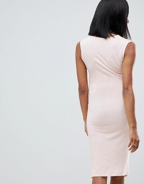 photo Maternity Wrap Front Bodycon Dress with Split Front by ASOS DESIGN, color Rose - Image 2