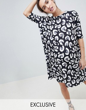 photo Maternity t-shirt Dress in Mono Abstract Leopard Print by ASOS DESIGN, color Multi - Image 1