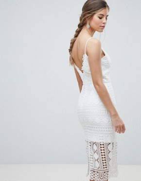 photo Lace Midi Dress with V-Back by Chi Chi London, color White - Image 2