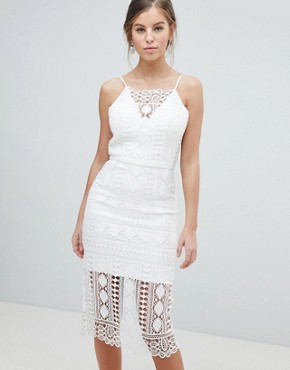photo Lace Midi Dress with V-Back by Chi Chi London, color White - Image 1