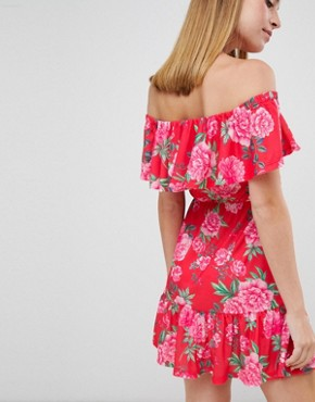 photo Off Shoulder Sundress with Tiered Skirt in Floral Print by ASOS DESIGN Petite, color Multi - Image 2