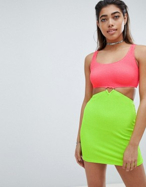 photo Crinkle Mini Dress with Heart Waist Fastening by Jaded London, color Lime - Image 1