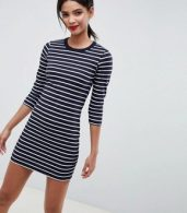 photo Tim Tim Stripe Jersey Dress by French Connection, color Utility Blue/White - Image 1