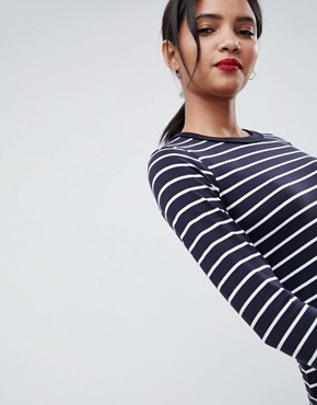 photo Tim Tim Stripe Jersey Dress by French Connection, color Utility Blue/White - Image 3