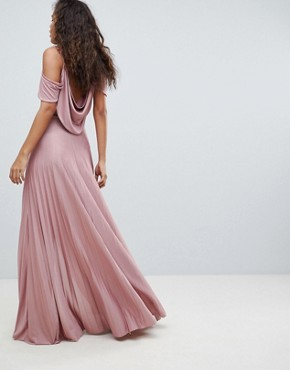 photo Cold Shoulder Cowl Back Pleated Maxi Dress by ASOS DESIGN Tall, color Rose Pink - Image 2