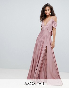 photo Cold Shoulder Cowl Back Pleated Maxi Dress by ASOS DESIGN Tall, color Rose Pink - Image 1