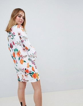 photo Botanical Shift Dress with Fluted Sleeves by ASOS DESIGN Petite, color Multi - Image 2