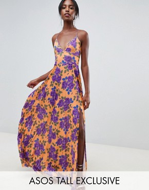 photo Pleated Cami Maxi Dress in Floral Print by ASOS DESIGN Tall, color Multi - Image 1