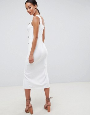 photo Asymmetric City Maxi Dress with Button Detail by ASOS DESIGN Tall, color White - Image 2
