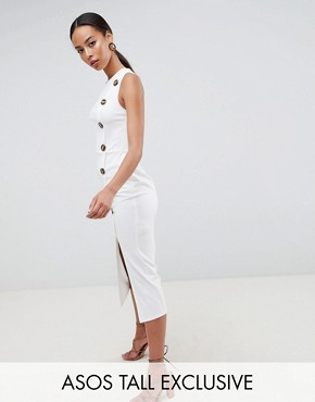 photo Asymmetric City Maxi Dress with Button Detail by ASOS DESIGN Tall, color White - Image 1