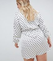 photo Button Down Polka Dot Tea Dress by Missguided Plus, color White Base - Image 2