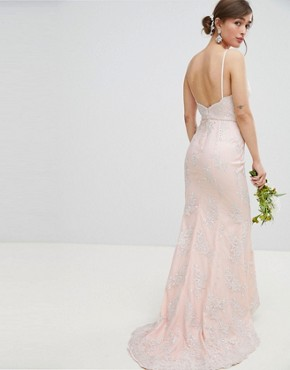 photo Bridal Premium Lace Maxi Dress with Fishtail by Chi Chi London Petite, color Nude - Image 2