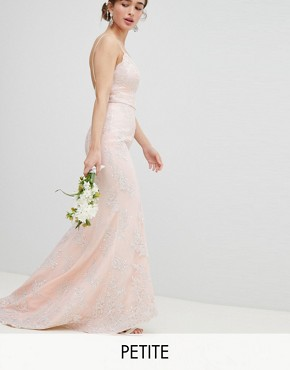 photo Bridal Premium Lace Maxi Dress with Fishtail by Chi Chi London Petite, color Nude - Image 1