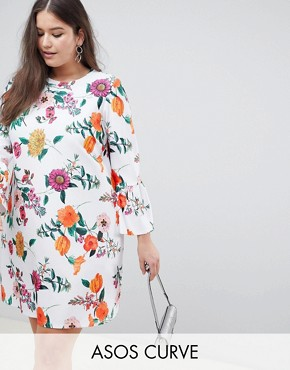 photo Botanical Shift Dress with Fluted Sleeves by ASOS DESIGN Curve, color Multi - Image 1