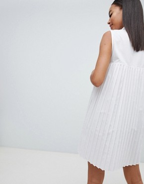 photo Mini Cotton Pleated Swing Shirt Dress by ASOS DESIGN Tall, color White - Image 2