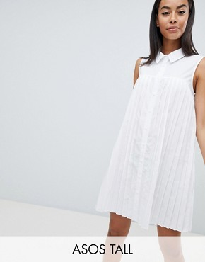 photo Mini Cotton Pleated Swing Shirt Dress by ASOS DESIGN Tall, color White - Image 1