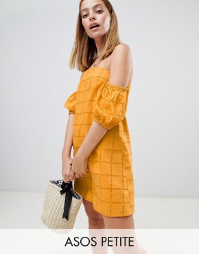 photo Ultimate Broderie Puff Ball Off Shoulder Mini Sundress by ASOS DESIGN Petite, color Yellow - Image 1