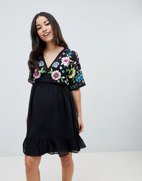 photo Maternity Tiered Mini Dress with Floral Embroidery by ASOS DESIGN, color Multi - Image 1