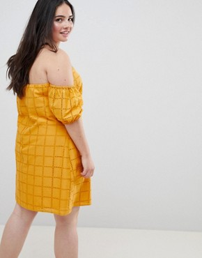 photo Ultimate Broderie Puff Ball Off Shoulder Mini Sundress by ASOS DESIGN Curve, color Yellow - Image 2