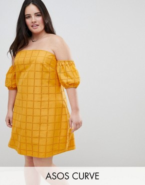 photo Ultimate Broderie Puff Ball Off Shoulder Mini Sundress by ASOS DESIGN Curve, color Yellow - Image 1